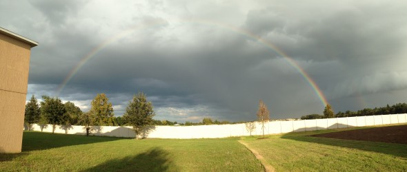 Full Rainbow Behind Our New House. 10/06/2013